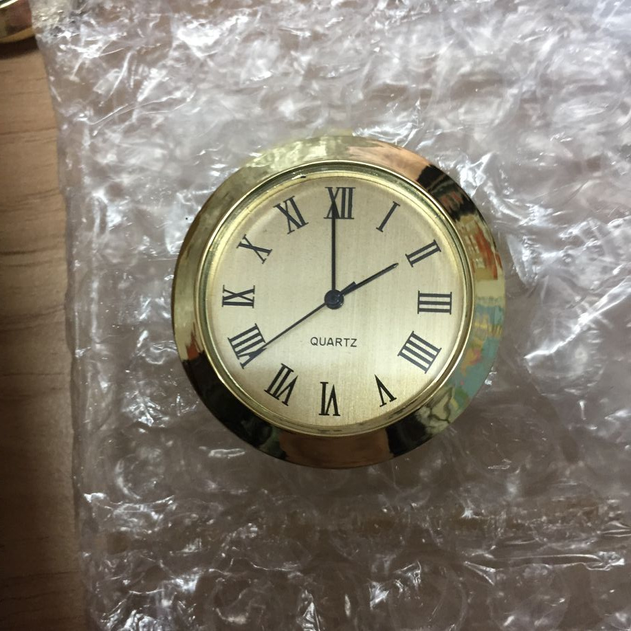 37mm gold insert clock gold case roman and arabic gold dial