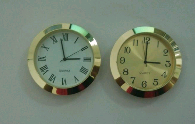 50mm gold dail gold case metal insert clock