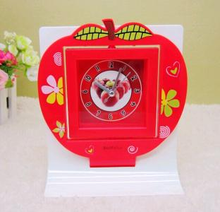 plastic red apple table alarm clock