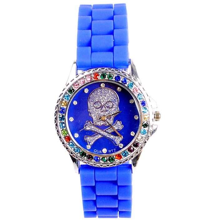 silicone skull watch with color crystals